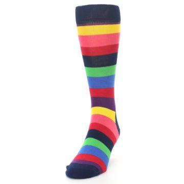 Image of Navy Multi Bright Stripe Men's Dress Socks (side-2-front-06)