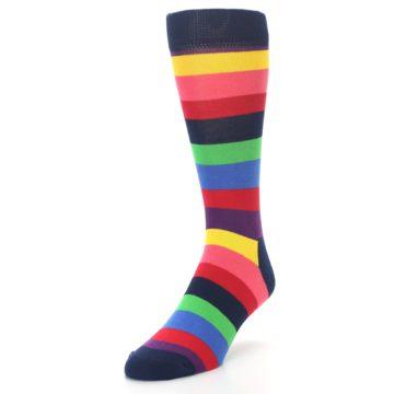 Image of Navy Multi Bright Stripe Men's Dress Socks (side-2-front-07)