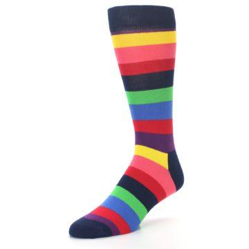 Image of Navy Multi Bright Stripe Men's Dress Socks (side-2-front-08)
