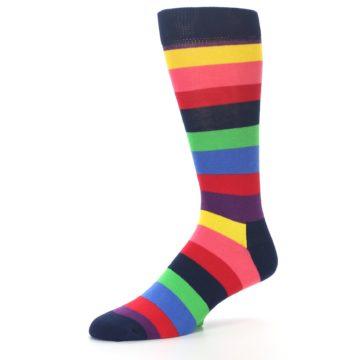 Image of Navy Multi Bright Stripe Men's Dress Socks (side-2-09)