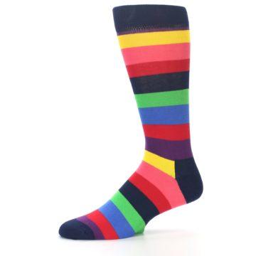 Image of Navy Multi Bright Stripe Men's Dress Socks (side-2-10)