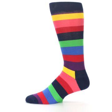 Image of Navy Multi Bright Stripe Men's Dress Socks (side-2-11)