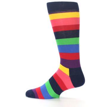 Image of Navy Multi Bright Stripe Men's Dress Socks (side-2-12)