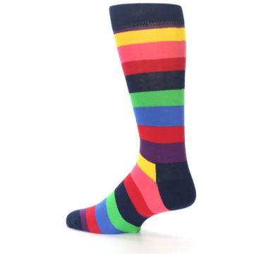 Image of Navy Multi Bright Stripe Men's Dress Socks (side-2-13)