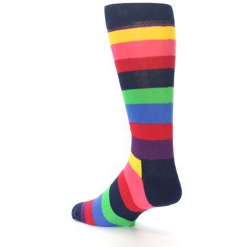 Image of Navy Multi Bright Stripe Men's Dress Socks (side-2-back-14)