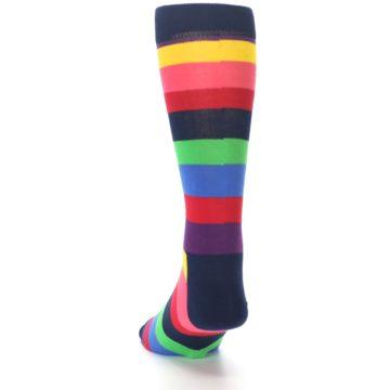 Image of Navy Multi Bright Stripe Men's Dress Socks (side-2-back-16)