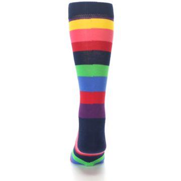 Image of Navy Multi Bright Stripe Men's Dress Socks (back-17)