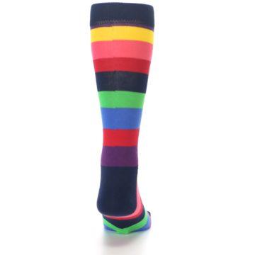 Image of Navy Multi Bright Stripe Men's Dress Socks (back-18)