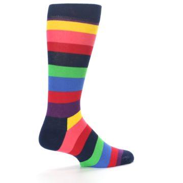 Image of Navy Multi Bright Stripe Men's Dress Socks (side-1-back-22)
