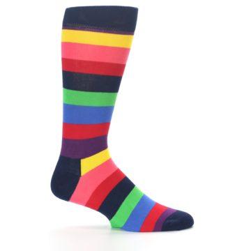 Image of Navy Multi Bright Stripe Men's Dress Socks (side-1-24)