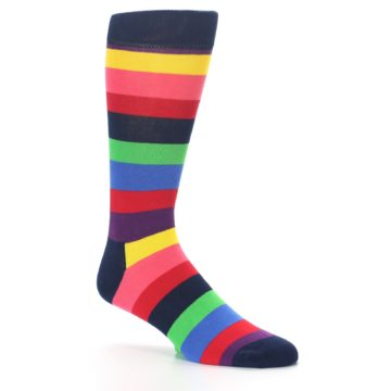 Image of Navy Multi Bright Stripe Men's Dress Socks (side-1-26)