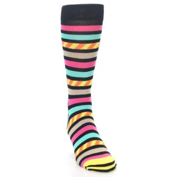 Image of Black Multi Bright Stripe Men's Dress Socks (side-1-front-03)