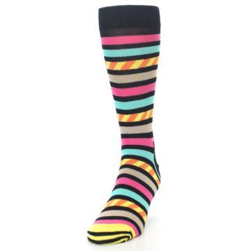 Image of Black Multi Bright Stripe Men's Dress Socks (side-2-front-06)