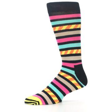 Image of Black Multi Bright Stripe Men's Dress Socks (side-2-10)