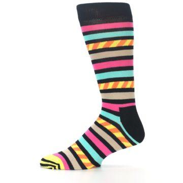 Image of Black Multi Bright Stripe Men's Dress Socks (side-2-11)