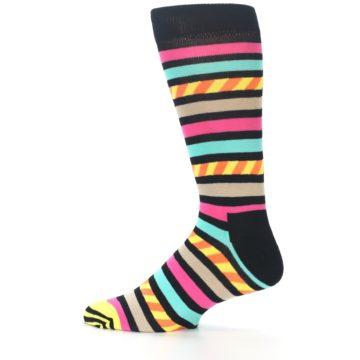 Image of Black Multi Bright Stripe Men's Dress Socks (side-2-12)