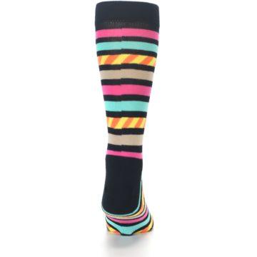 Image of Black Multi Bright Stripe Men's Dress Socks (back-18)