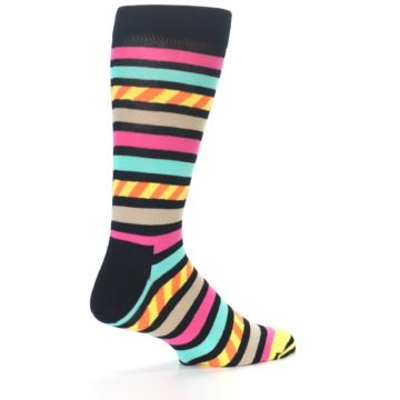 Image of Black Multi Bright Stripe Men's Dress Socks (side-1-back-22)