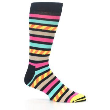 Image of Black Multi Bright Stripe Men's Dress Socks (side-1-25)
