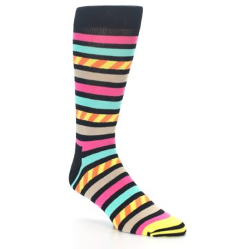 Image of Black Multi Bright Stripe Men's Dress Socks (side-1-27)