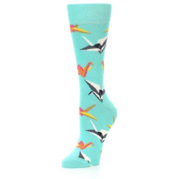 Image of Aqua Multi Origami Birds Women's Dress Socks (side-2-front-08)