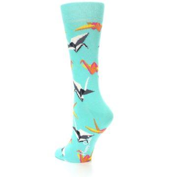 Image of Aqua Multi Origami Birds Women's Dress Socks (side-2-back-14)