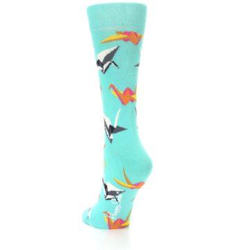 Image of Aqua Multi Origami Birds Women's Dress Socks (side-2-back-15)