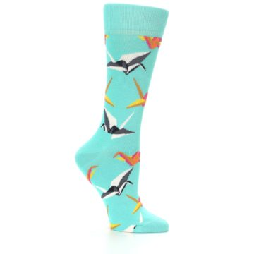 Image of Aqua Multi Origami Birds Women's Dress Socks (side-1-25)