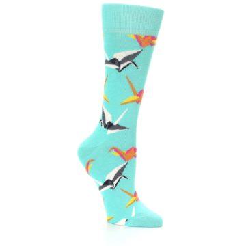 Image of Aqua Multi Origami Birds Women's Dress Socks (side-1-26)