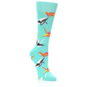 Image of Aqua Multi Origami Birds Women's Dress Socks (side-1-27)
