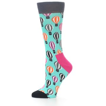 Image of Turquoise Hot Air Baloons Women's Dress Socks (side-2-10)