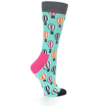 Image of Turquoise Hot Air Baloons Women's Dress Socks (side-1-back-22)