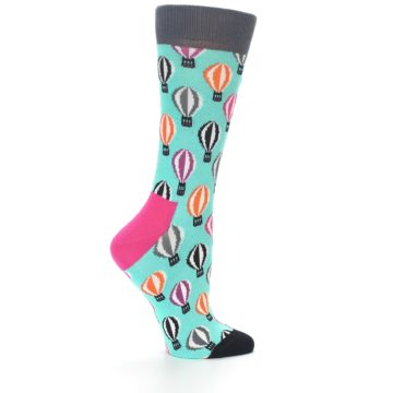 Image of Turquoise Hot Air Baloons Women's Dress Socks (side-1-23)