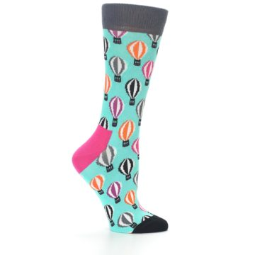 Image of Turquoise Hot Air Baloons Women's Dress Socks (side-1-24)