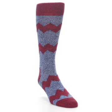 Image of Blue Red Zig Stripe Wool Men's Dress Socks (side-1-front-02)