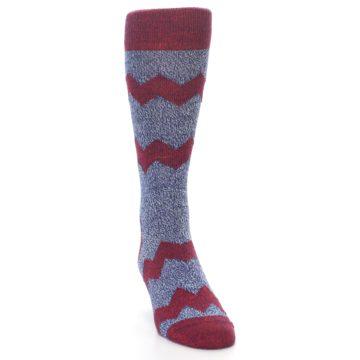 Image of Blue Red Zig Stripe Wool Men's Dress Socks (side-1-front-03)