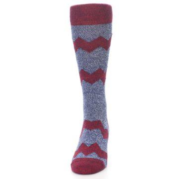 Image of Blue Red Zig Stripe Wool Men's Dress Socks (front-05)