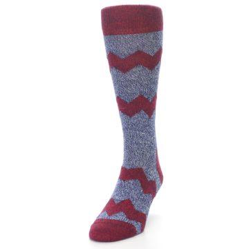 Image of Blue Red Zig Stripe Wool Men's Dress Socks (side-2-front-06)