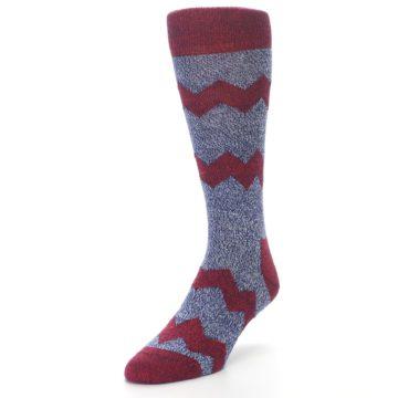 Image of Blue Red Zig Stripe Wool Men's Dress Socks (side-2-front-07)