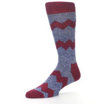 Image of Blue Red Zig Stripe Wool Men's Dress Socks (side-2-09)