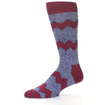 Image of Blue Red Zig Stripe Wool Men's Dress Socks (side-2-10)