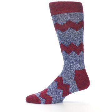Image of Blue Red Zig Stripe Wool Men's Dress Socks (side-2-11)