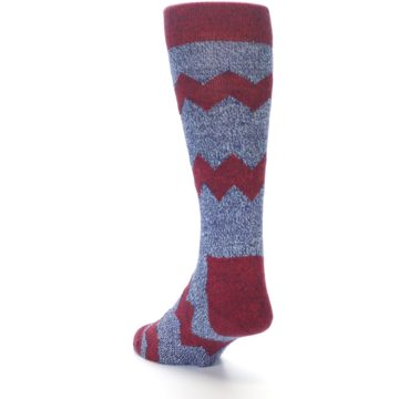 Image of Blue Red Zig Stripe Wool Men's Dress Socks (side-2-back-15)