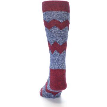 Image of Blue Red Zig Stripe Wool Men's Dress Socks (side-2-back-16)