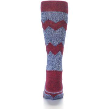 Image of Blue Red Zig Stripe Wool Men's Dress Socks (back-17)