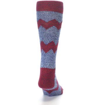 Image of Blue Red Zig Stripe Wool Men's Dress Socks (back-18)