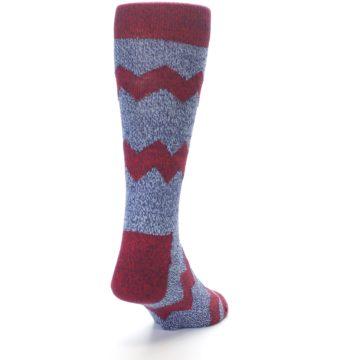 Image of Blue Red Zig Stripe Wool Men's Dress Socks (back-19)
