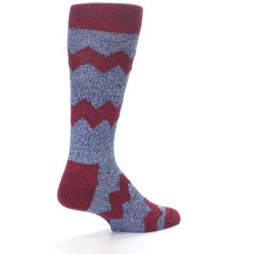 Image of Blue Red Zig Stripe Wool Men's Dress Socks (side-1-back-21)