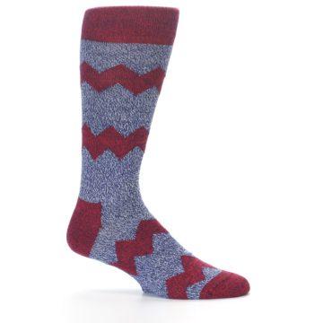 Image of Blue Red Zig Stripe Wool Men's Dress Socks (side-1-24)
