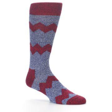 Image of Blue Red Zig Stripe Wool Men's Dress Socks (side-1-25)